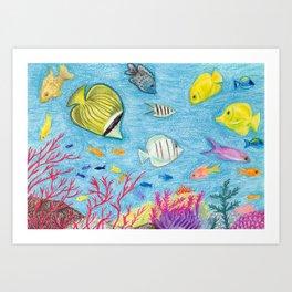 Crayon Fish #4 Art Print