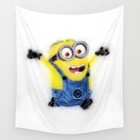 minion Wall Tapestries featuring Minion by KitschyPopShop