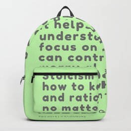 Stoicism teaches how to keep a calm and rational mind no matter what happens to you Jonas Salzgeber Backpack