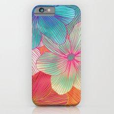 Between the Lines - tropical flowers in pink, orange, blue & mint iPhone 6 Slim Case
