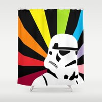 storm trooper Shower Curtains featuring After the Storm... Rainbow Trooper by qualitypunk
