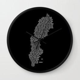 Cities in Sweden - black Wall Clock