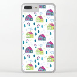 Pink lime green teal blue hand painted floral cute houses Clear iPhone Case