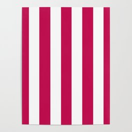 Pictorial carmine fuchsia - solid color - white vertical lines pattern Poster