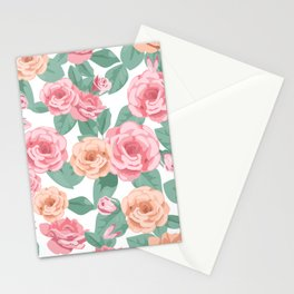 Spring flowers pink all over print gifts beautiful Stationery Cards