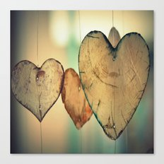 Vintage Boho Chic Bokeh Hearts Wind Chimes Canvas Print