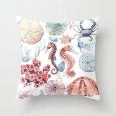 Watercolor Sea Party Throw Pillow