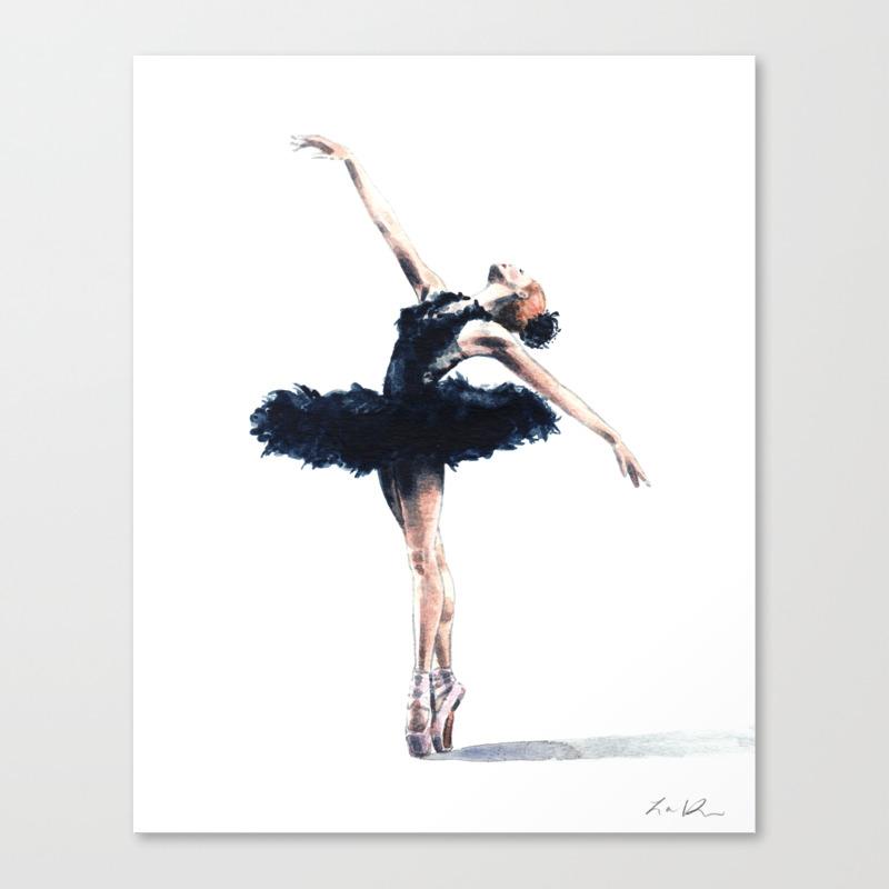 Black Swan Art Swan Lake Ballet Dancer Ballerina Dance Studio Canvas Print By Laurarowstudio Society6