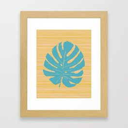 Monstera in Turquoise and Gold Framed Art Print