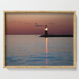 Lighthouse at the Blue Hour Serving Tray