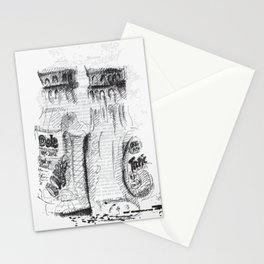 I Am What I Eat - Double Juice Black and White Illustration Stationery Cards