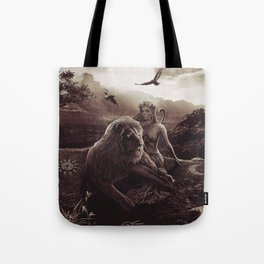 VIII. Strength Tarot Card Illustration (Warmth) Tote Bag