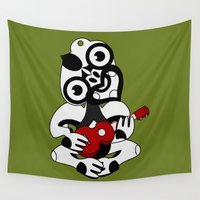 maori Wall Tapestries featuring Black and Grey Hei Tiki playing a Ukulele by mailboxdisco
