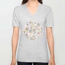Elegant whimsical grey watercolor roses Unisex V-Neck