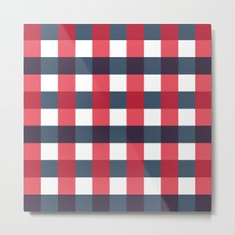 Red White and Blue Gingham Check Pattern Metal Print