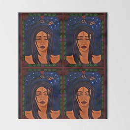 Estrellado, Indigo Sueno Azul (Starry, Indigo Blue Dream) - Symmetrical Art Throw Blanket