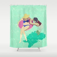 pool Shower Curtains featuring Pool by ministryofpixel