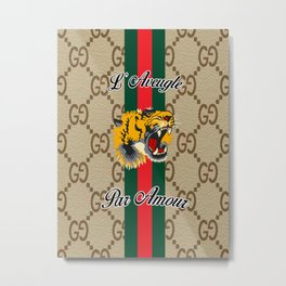 guccii tiger Metal Print