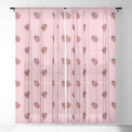 Ladybug Pattern Sheer Curtain