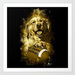 golden retriever dog football splatter watercolor yellow gold sepia Art Print