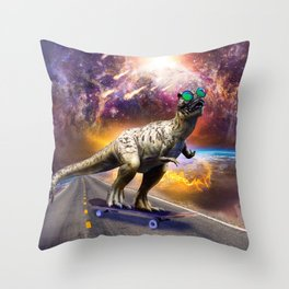 Dinosaur With Sunglasses On Skateboard In Space Throw Pillow