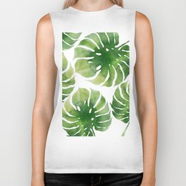 Monstera watercolor I Biker Tank