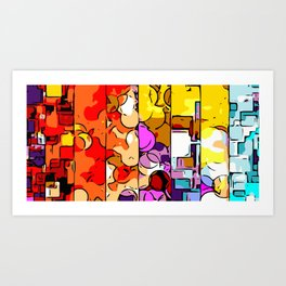 psychedelic geometric graffiti drawing and painting in orange pink red yellow blue brown purple and Art Print
