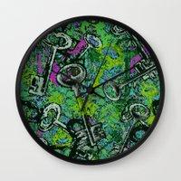 key Wall Clocks featuring Key by Emma Stein