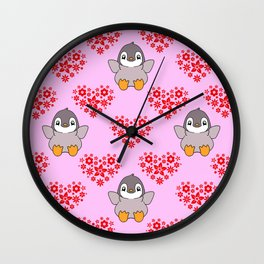 Cute happy cheerful little baby penguins cartoon red floral hearts hearts seamless baby pink pattern Wall Clock