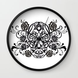 SKULL FLOWER 02 Wall Clock
