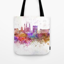 San Salvador skyline in watercolor background Tote Bag
