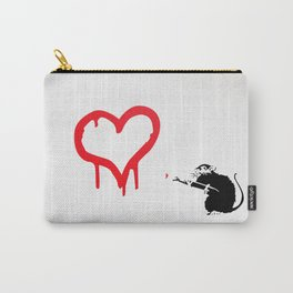 Banksy Rat Love Black&White Red Heart Carry-All Pouch