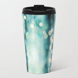 Turquoise Abstract Art, Teal Bokeh Lights Photography, Aqua Sparkle Photo Travel Mug