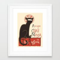 type Framed Art Prints featuring A French Ninja Cat (Le Chat Ninja) by Kyle Walters