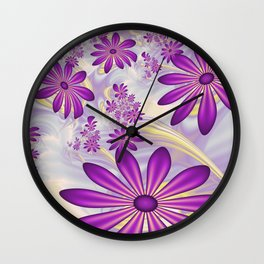 Fractal Art Dancing Purple Flowers Wall Clock