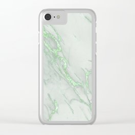 Marble Love Green Metallic Clear iPhone Case