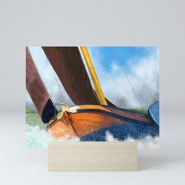 Stormy weather skutsje sailing ship Mini Art Print