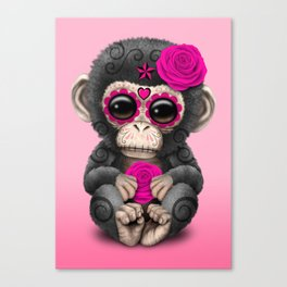 Pink Day of the Dead Sugar Skull Baby Chimp Canvas Print
