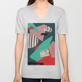abstract paper collage Unisex V-Neck