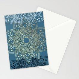 GOLDEN MANDALA ON BLUE Stationery Cards