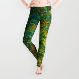 Abstract Organic Pattern Green and Yellow Leggings