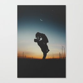 WOMAN - MAN - MOON - SUNSET - PHOTOGRAPHY Canvas Print