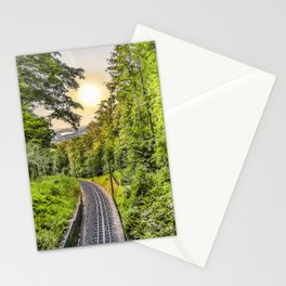 Rail way amidst forest to the city Stationery Cards