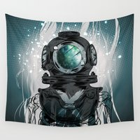 diver Wall Tapestries featuring Deep Space Diver by Beery Method