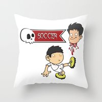 soccer Throw Pillows featuring Soccer Skull by flydesign