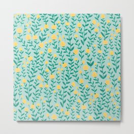 Emerald green and Yellow Minimal Retro Flowers Pattern Metal Print