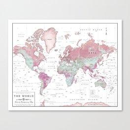 World Map Wall Art [Pink Hues] Canvas Print