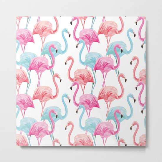 flamingo pink and blue watercolor seamless pattern Metal Print