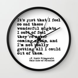 These wonderful nights - Fitzgerald quote Wall Clock