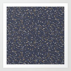 Speckles I: Dark Gold & Snow on Blue Vortex Art Print